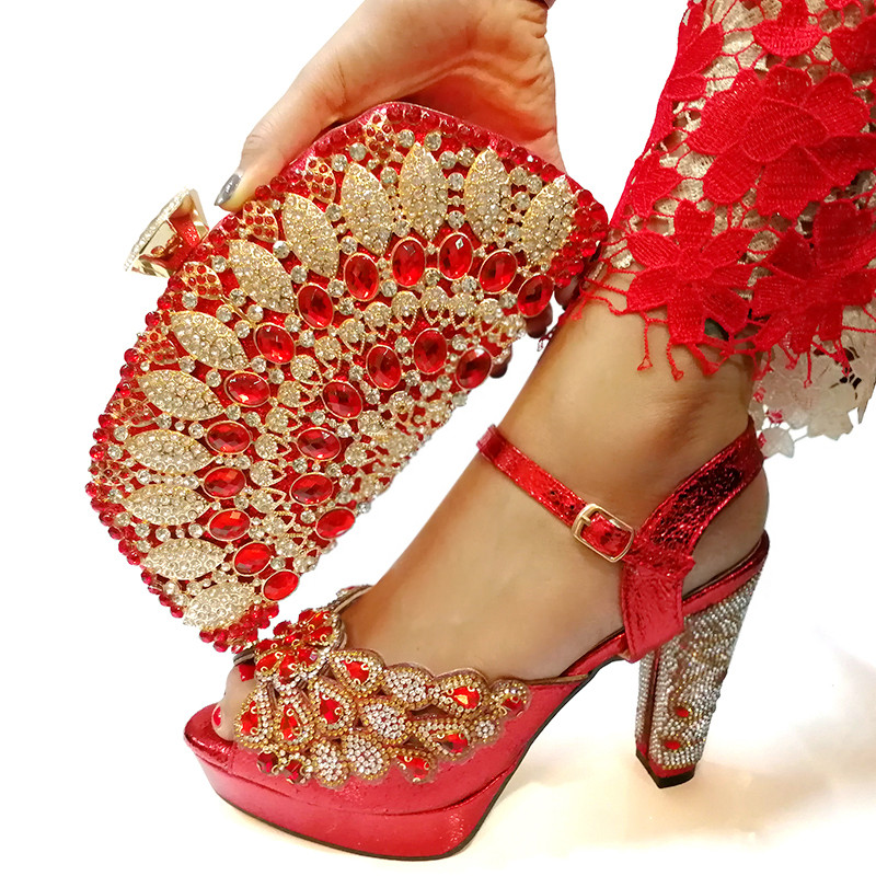 Red Italian Shoes with Matching Bag for Woman Italian Shoes and Bag Set High Quality African Wedding Shoe and BagRed Italian Shoes with Matching Bag for Woman Italian Shoes and Bag Set High Quality African Wedding Shoe and Bag