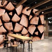 Custom 3d Photo High Quality Non Woven Wallpaper Wall Murals 3d Wallpaper Wood Grain Retro Dining