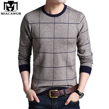 MIACAWOR New Cashmere Sweater Men Autumn Winter Wool Sweaters Plaid Business Casual Pullover Men Knitted Sweater