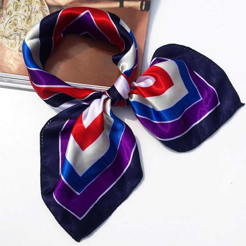 Moda 19 estilos mujer chica elegante impresión cuadrada estilo coreano camarero Hotel azafatas negocios imitar pañuelo de seda regalo