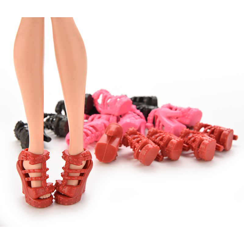 10Pairs Doll Shoes High Heel Sandals for  Doll Princess Color Random/_ma