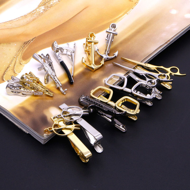 Stylish Men Vintage Tie Clip Necktie Tie Clip Bar Clasp Guitar Glasses Anchor