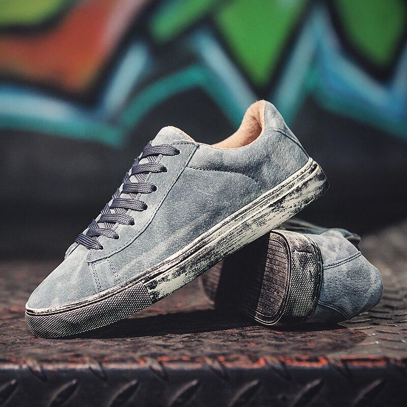 2018 De Véritable Hommes grey Sneakers Automne Valstone Chaussures Masculine Casual Hip Rue Luxe Hombres Cuir brown En Mode Hop Caoutchouc Black O8PX0wnk