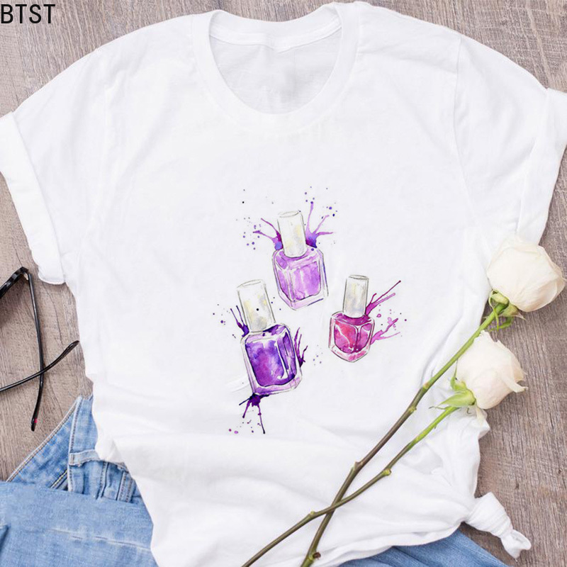 Kpop 100% Cotton VOGUE T Shirt Women Summer Tops Kawaii Nail Polish Lipstick Illustrations Tumblr T-shirt Femem Camisetas Mujer