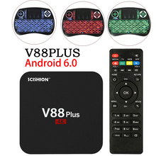 V88 RK3229 Más Inteligente Android 6.0 smart TV Caja Quad Core UHD 4 K TV cuadro de HDMI 2 GB 8 GB WiFi HD Media Player Set top Box PX A5X X96