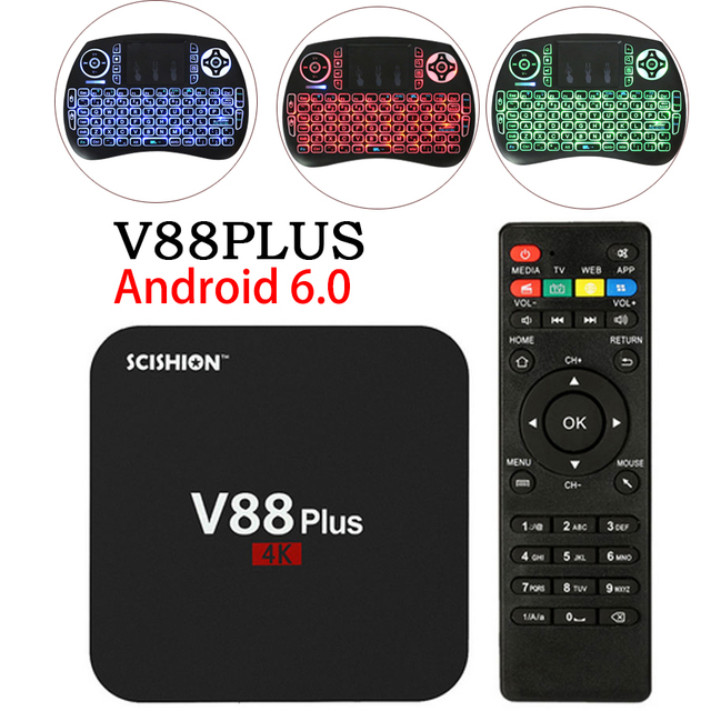 V88 Plus Smart Android 6.0 smart TV Box RK3229 Quad Core UHD 4K TV Box HDMI 2GB 8GB WiFi HD Media Player Set top Box PX X96 A5X