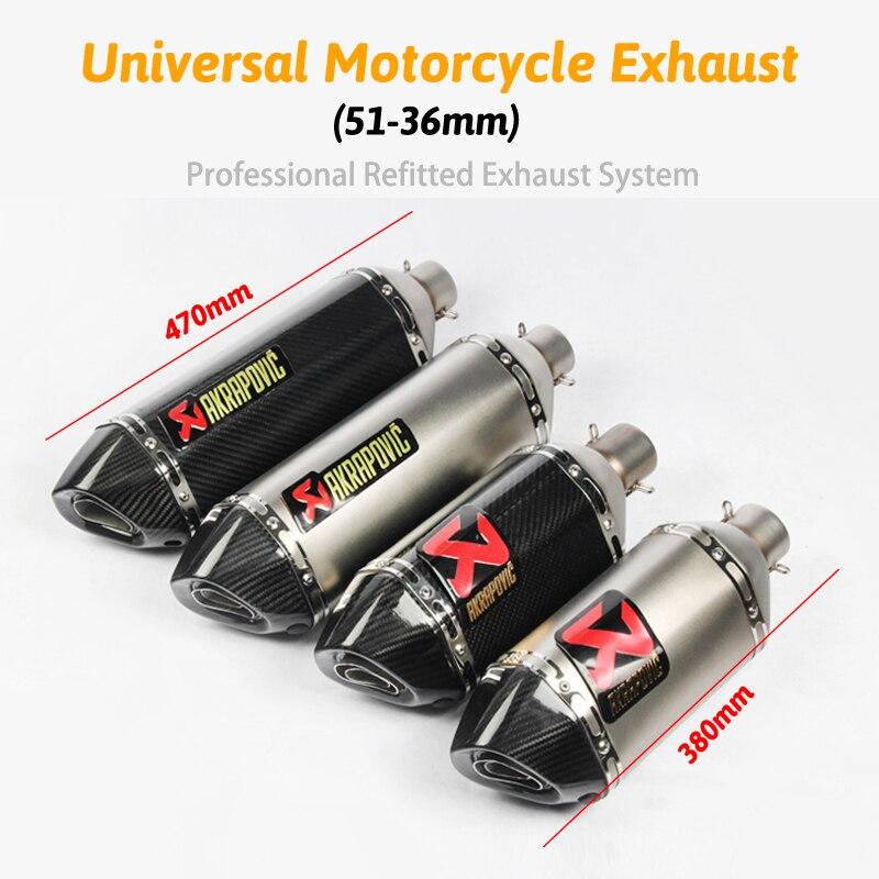 51 MM universel Akrapovic échappement moto silencieux tuyau long 470mm 380mm autocollant en Fiber de carbone inoxydable DB tueur pour vélo de saleté