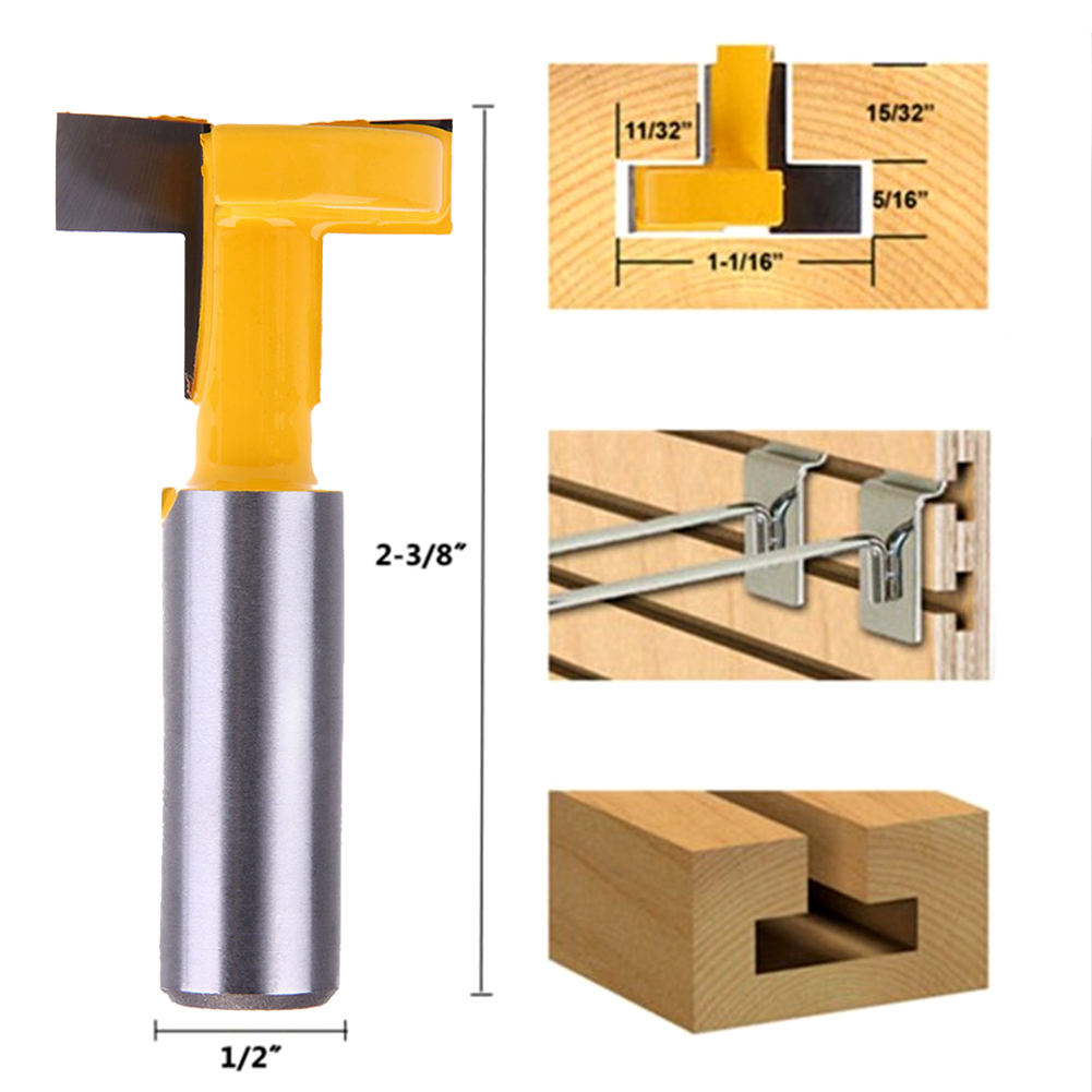 1pcs  1/2*5/16 Shank Straight T-track T-Slot Router Bit Woodworking Chisel Milling Cutter Tools 1pcs  1/2*5/16 Shank Straight T- high grade carbide alloy 1 2 shank 2 1 4 dia bottom cleaning router bit woodworking milling cutter for mdf wood 55mm mayitr