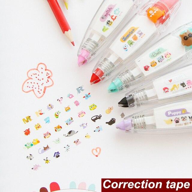 9 unids/lote animal lindo Encaje cinta corretiva papeleria material escolar kawaii papelería fuentes de escuela 6562