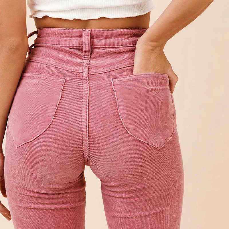 Pantalones Acampanados De Terciopelo Para Mujer Pantalon De Pana Con Bolsillo En La Cadera De Cintura Alta Color Rosa Para Invierno 2018 Pantalones Y Pantalones Capri Aliexpress