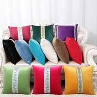 Patchwork Embroidery Pillow Cushion Covers for Sofa Chair European American Style Velvet Lumbar Cushion Set Backrest Pillow Case