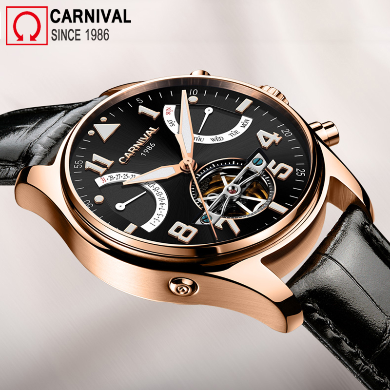 Carnival Sport Skeleton Tourbillon Watch Men Automatic Mechanical Watches Mens Leather Wristwatch Diving Clock montre homme стоимость