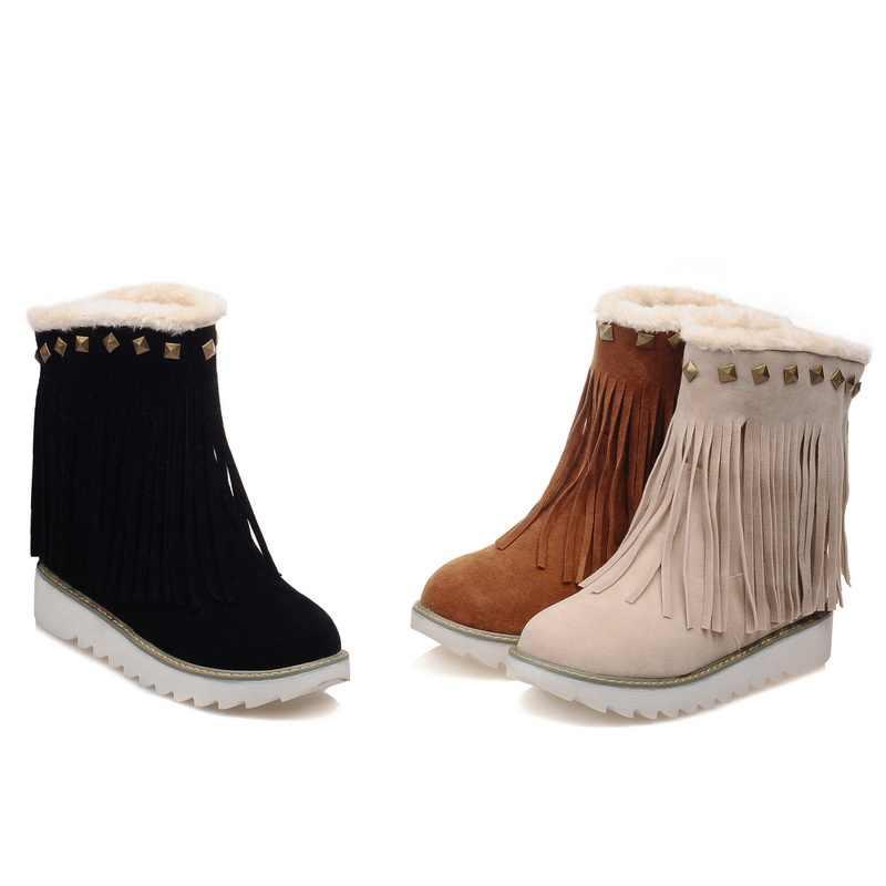BONJOMARISA kış büyük boy 33-43 ayak bileği kar patik kadınlar rahat kaymaz Platform ayakkabılar kadın sıcak peluş takozlar ayakkabı