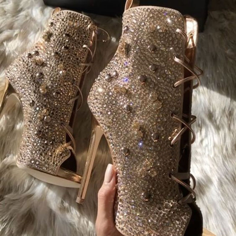 Factory Sexy Ladies Crystal Rivets Drilled Peep toe Lace Up Ankle Boots  Plated Stiletto High Heel Women Glitter Dress Bottines-in Ankle Boots from Shoes  on ... 07ab3bcce8a3