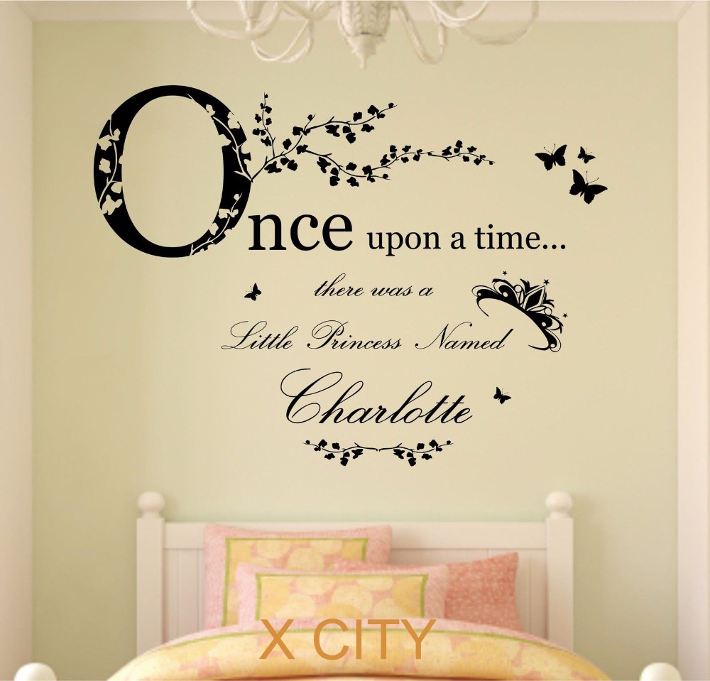 Once upon a time princess children girl personalised name vinyl once upon a time princess children girl personalised name vinyl wall decal art decor sticker kids bedroom stencil mural s m l in wall stickers from home amipublicfo Choice Image
