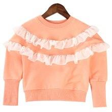 Children's clothing 2016 autumn children sweater outerwear kid girls clothing crew neck sweater baby girls Lace child shirt