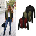 Fashion Women's solid color zipper jacket cotton jacket Coat Trench Outwear
