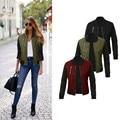 Fashion Women's solid color zipper jacket cotton jacket Coat Trench Outwear
