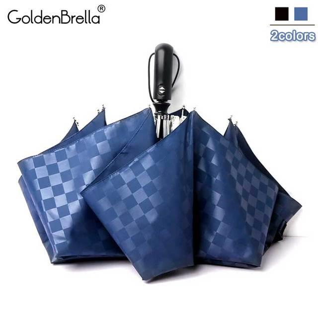 120 cm Automatici di Alta Qualità di Griglia Ombrello Donne Pioggia 3 Fold Antiv