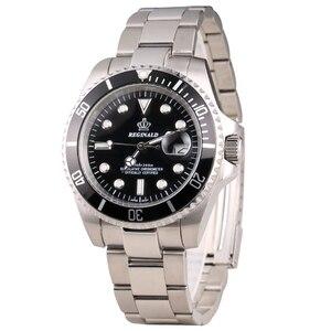 Image 5 - רג ינלד שעון גברים יפן Miyota Movt מוצק Endlink Rotatable Bezel GMT תאריך מלא נירוסטה קוורץ שעונים עמיד למים