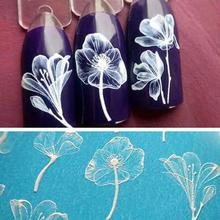 1 Uds 6D grabado Flor Blanca Rosa Linda pegatinas de abeja para manicura arte de uñas pegatina para uñas decoración flor en relieve agua LC