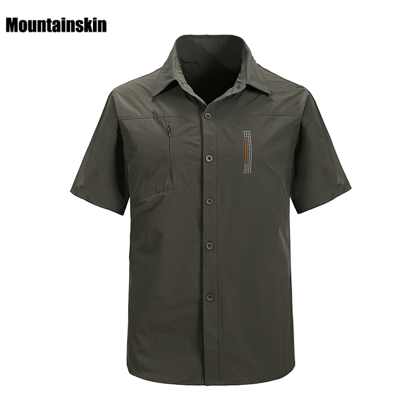 2018 New Men's Quick Dry Shirts Ourdoor Breathable Short Sleeve Shirts Male Sports Top Clothes For Hiking Trekking RM131