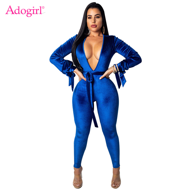 02d3898b96 Adogirl Women Sexy Velvet Jumpsuit Deep V Neck Bow Tie Long Sleeve Backless Romper  Night Club Overalls with Belt Casual Outfits