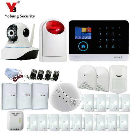 YobangSecurity WIFI GPRS GSM Home Security Alarm System Door Sensor Pet PIR Motion Detector IP Camera Wireless Siren Android IOS yobangsecurity touch keypad wifi gsm gprs home security voice burglar alarm ip camera smoke detector door pir motion sensor