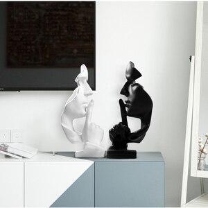 Image 3 - VILEAD figuras de resina Silence is Gold, estatua creativa para sala de estar y oficina, accesorios de decoración para el hogar, 28,5 cm