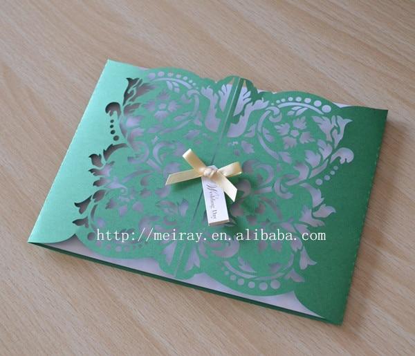 100pcs Lot New Year Decorations Laser Cut Gatefold Invitations