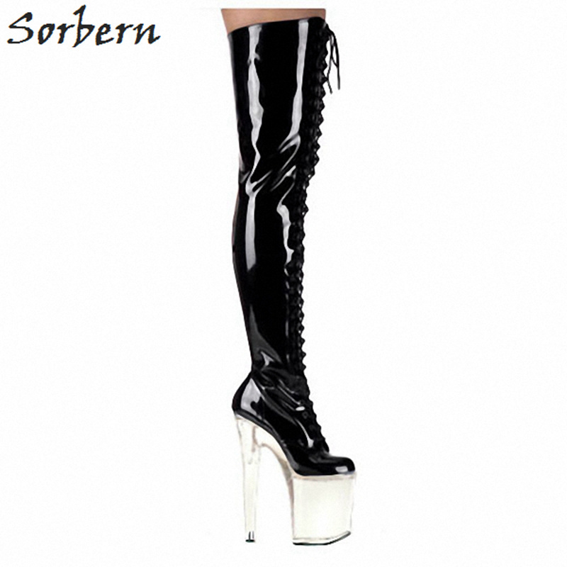Sorbern Black Shiny Thigh High Boots Lace Up Platform Lady Shoes Women 20Cm/10Cm Clear High Heels Thick Heels Fetish Shoes