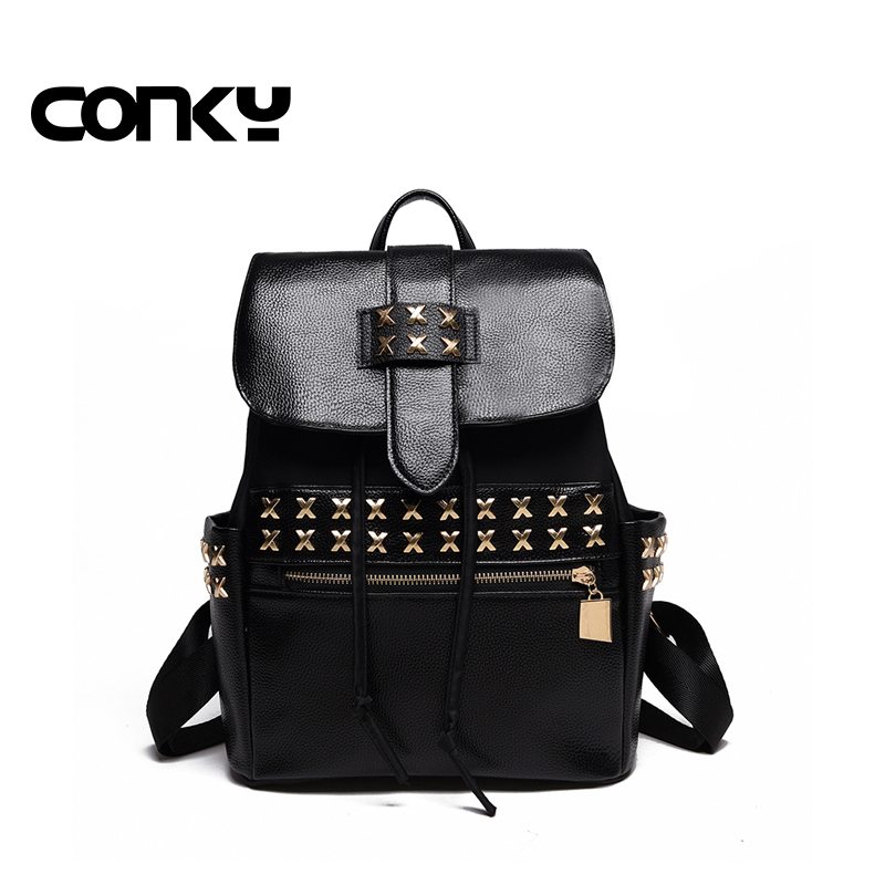 Brand 2016 Women Fashion Rivet Backpacks School Girls Shoulder Bags Travel Backpack For Ladies Cute Schoolbag