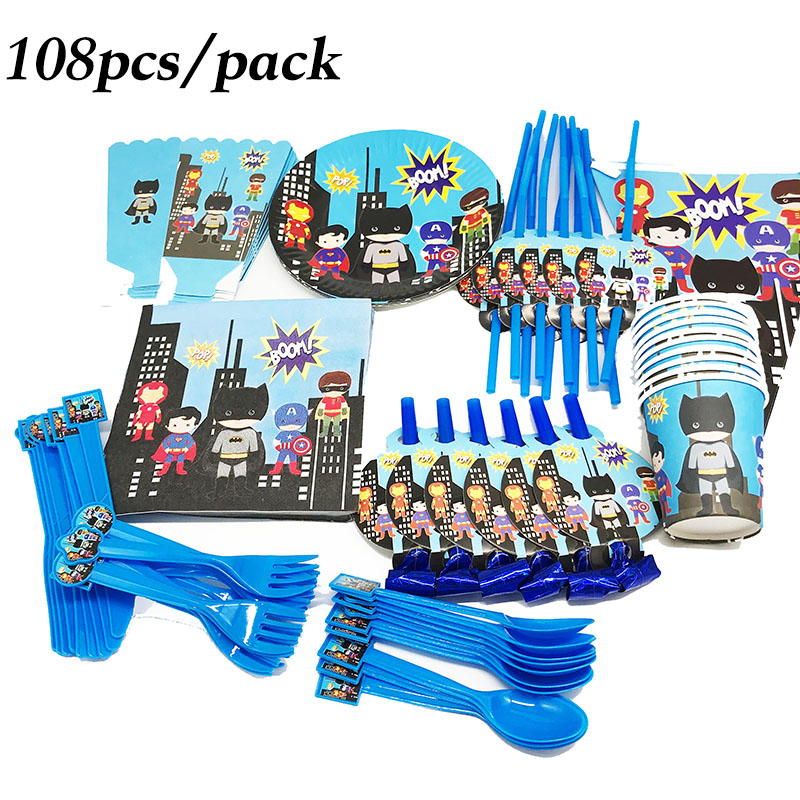 108pcs cartoon Avengers disposable party set the Avengers theme disposable plates cups straws Avengers birthday party
