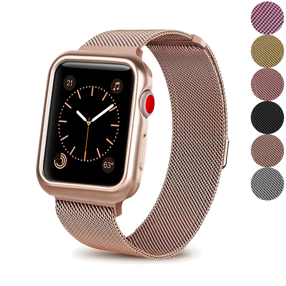 Milanese Loop case+strap For Apple Watch band 4 42mm 38mm iwatch 44mm/40mm 3/2/1 correa Stainless steel bracelet accessoriesMilanese Loop case+strap For Apple Watch band 4 42mm 38mm iwatch 44mm/40mm 3/2/1 correa Stainless steel bracelet accessories