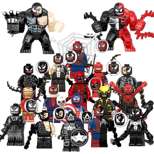 18 pçs/lote Carnificina Veneno Anti-veneno Spiderman Preto Deadpool Marvel Avengers Ironman Figuras Building Blocks Set Brinquedos Juguetes