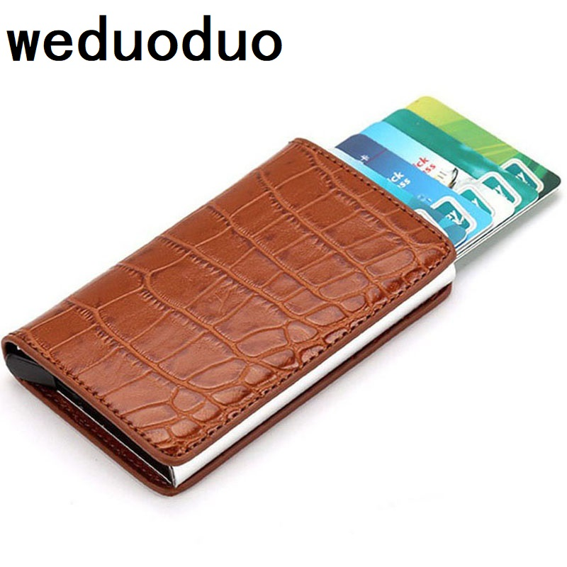Weduoduo Metal Credit Card Holder Automatic Pop Up Aluminum Wallet PU Leather Card Holder Anti-theft Wallet Card CaseWeduoduo Metal Credit Card Holder Automatic Pop Up Aluminum Wallet PU Leather Card Holder Anti-theft Wallet Card Case