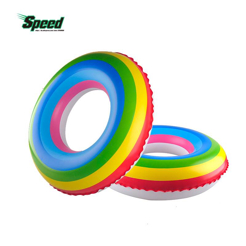 Adult Rainbow Inflatable Swimming Float Tube Ring Raft Pool Float Swim Ring For Women And Kid Summer Water Fun Pool and Sea Toys
