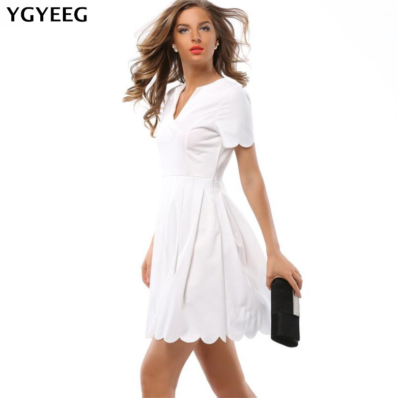 YGYEEG Women Elegant <font><b>Dress</b></font> 2019 New Arrival Summer Short Sleeve V-Neck <font><b>Sexy</b></font> A-Line Mini Party <font><b>Dress</b></font> Vestidos Work <font><b>Dresses</b></font> XXL image