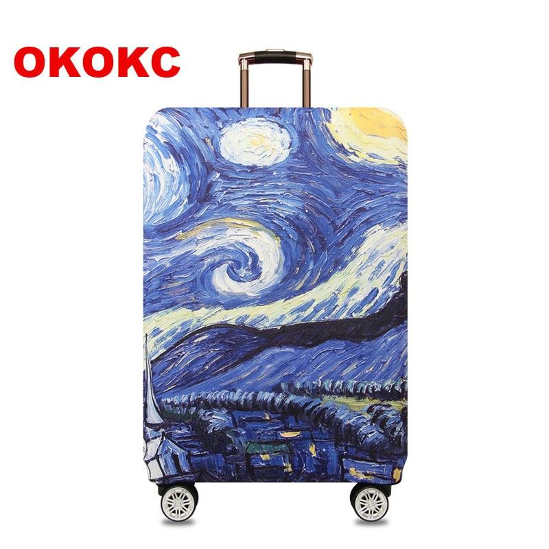 OKOKC Πολύχρωμο σκούρο κάλυμμα βαλίτσας για θήκη μεταφοράς κορδονιών Εφαρμογή σε βαλίτσα 18 '' - 32 '', ελαστικό κάλυμμα αποσκευών, αξεσουάρ ταξιδιού