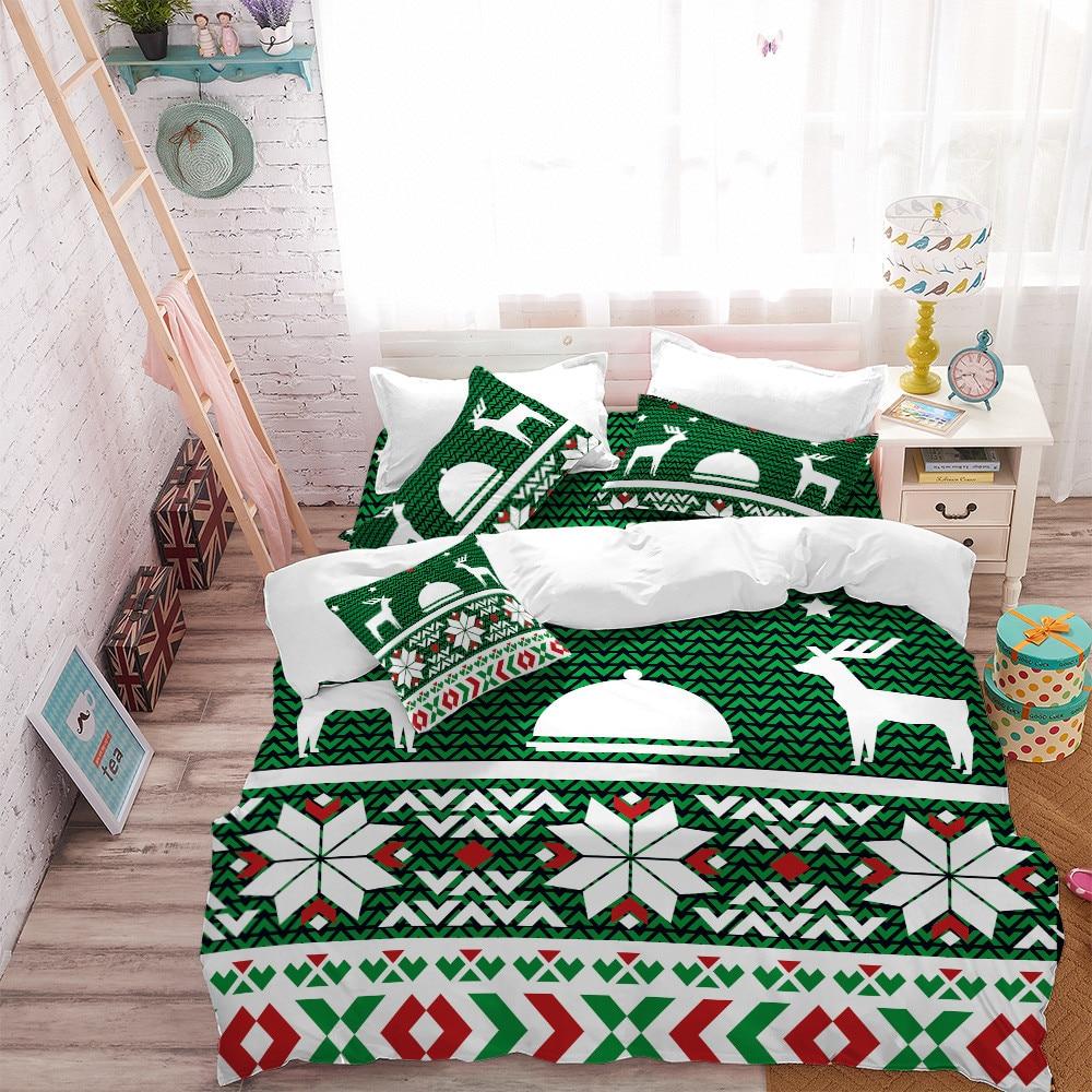 Bohemia Green Bedding Set Christmas Deer Geometric Print Bedding Duvet Cover Set Elegant Bedclothes Pillowcase Ropa De Cama D40