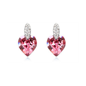 4 cores 925 de prata áustria rosa de cristal brincos mulheres jóias romântico namorada simples bonito coração