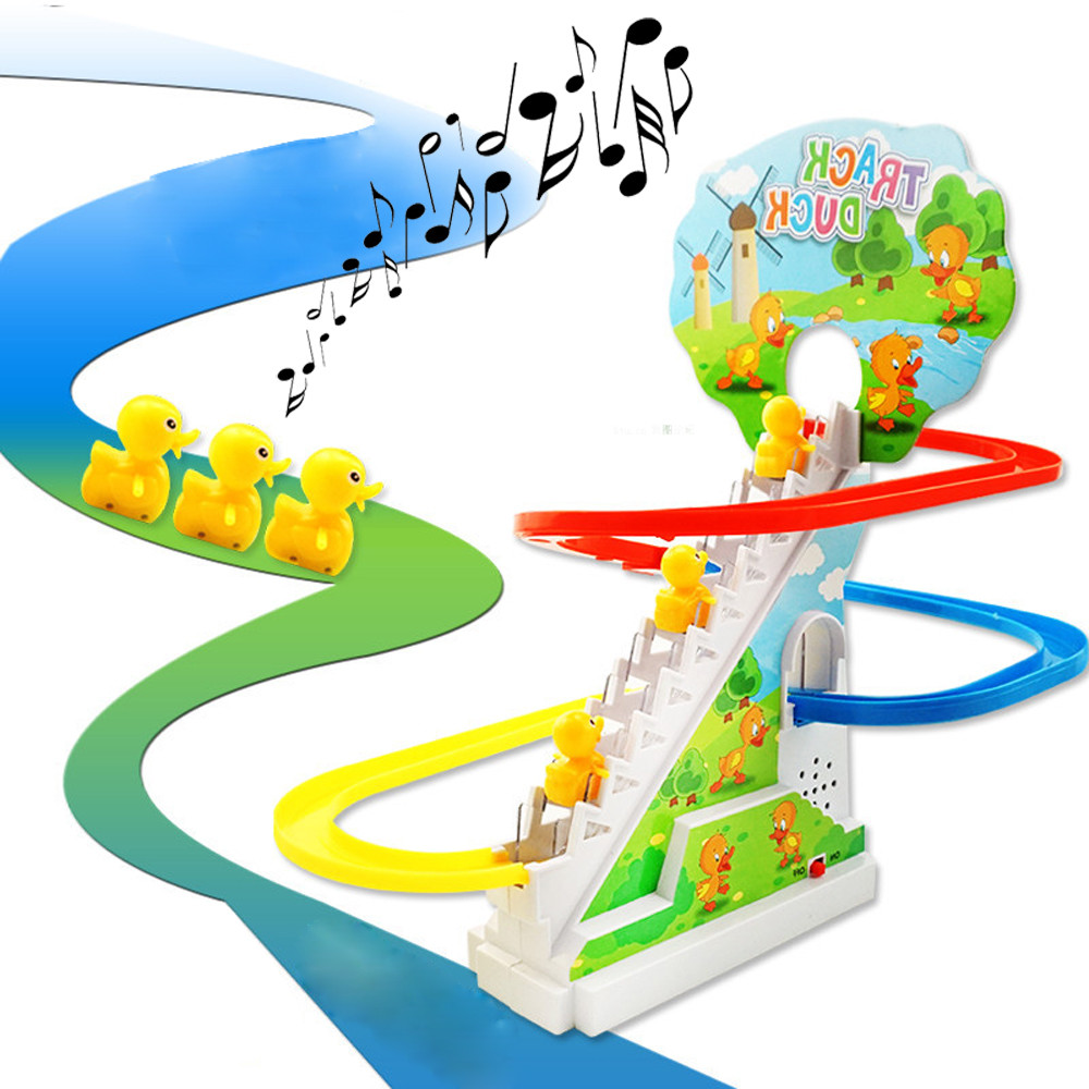 New Funny Lovely Yellow Duck Electric Light Music Amusement Electric Climb Stairs Track Toy With The Music 25*17.3*5.5