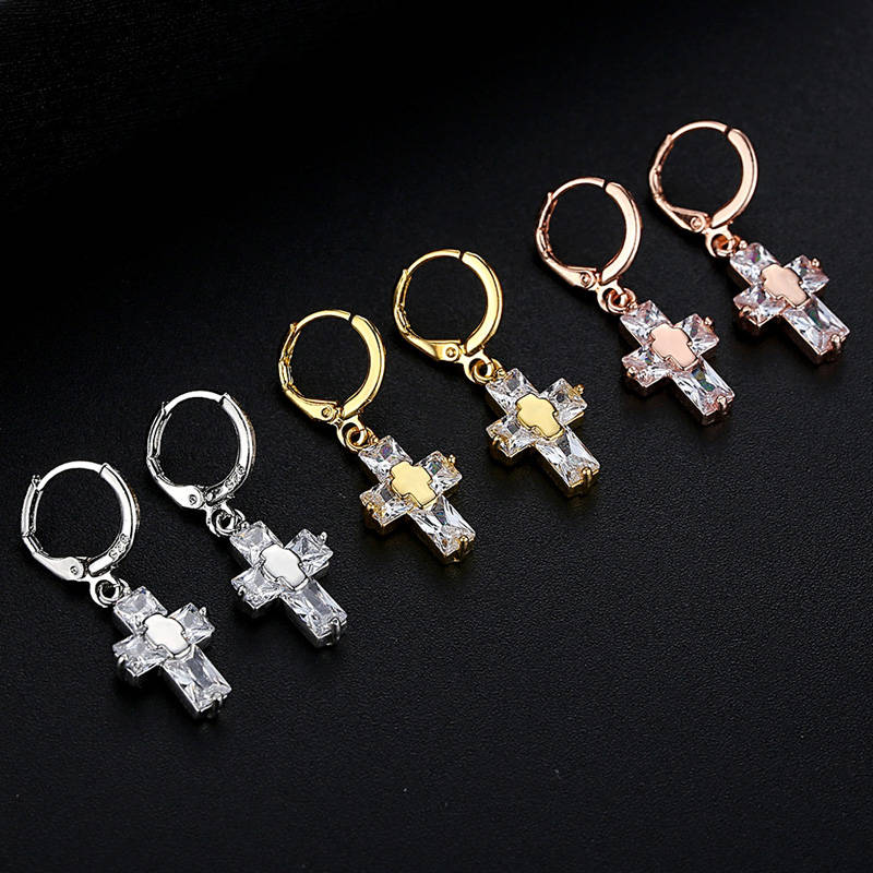 Rose Gold Silver Two Color Cross Drop Earrings Women Female Round  Earrings Fashion Party Jewelry Accessories Girlfriend Gift