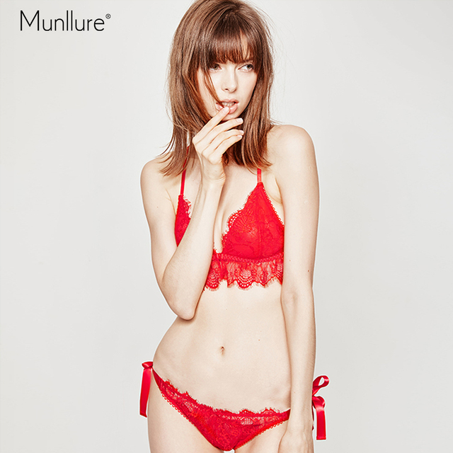05760c0eaa Munllure Christmas red lace hanging neck no steel ring gathered bra chest bra  set sexy underwear female thin section