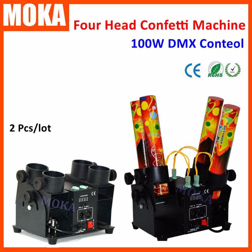 2Unit/Lot Four Head Electric Confetti  Effect Machine DJ Confetti Cannon DMX wedding confetti shooter paper cannon confetti machine 4 head confetti shooter with special effects continuous flow confetti cannon