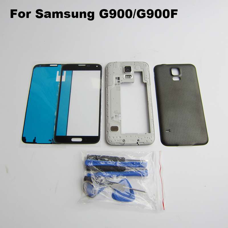 Original Full Housing Case Back Cover Middle Frame outer Glass Lens Tools 3M Adhesive For Samsung