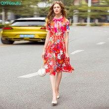 QYFCIOUFU 2018 High Quality Bow Red Dress Women Short Sleeve Designer Runway Floral Print Elegant Pleated
