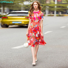 QYFCIOUFU 2018 High Quality Bow Red Dress Women Short Sleeve Designer Runway Floral Print Elegant Pleated Casual Summer Dresses