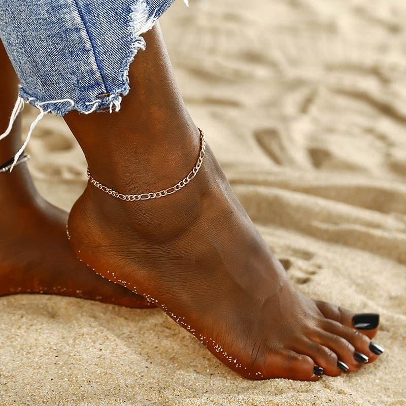 Fußkettchen Mode Einfache Metall Kette Fußkettchen Für Frauen Gold/silber Farbe Sommer Stil Strand Fuß Schmuck Armbänder Frau Ns239 GroßE Vielfalt