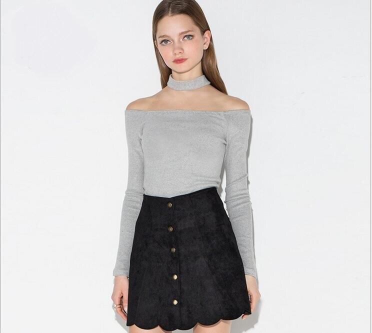New spring tight long-sleeved shirt sexy word hanging neck shoulder render unlined upper garmentSK25